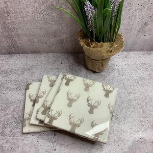 White Antler Coasters, Set of 4